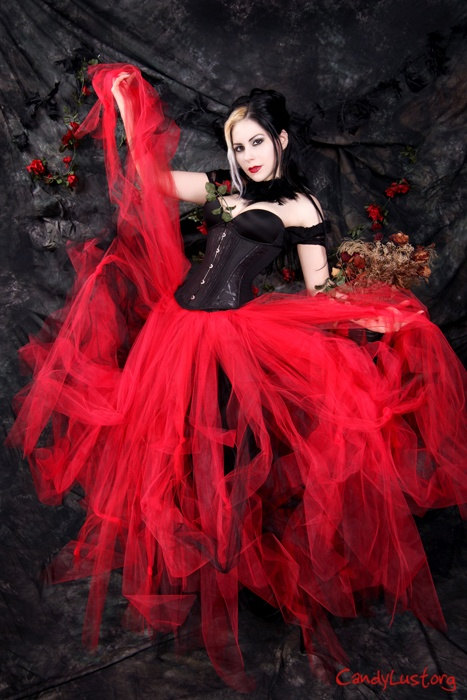 dcab063812 Gothic Wedding Tutu Tulle Skirt Streamer Floor Length Formal Red Black...  ($150) ❤ liked on Polyvore featuring costumes, plus size… | My Polyvore  Finds ...