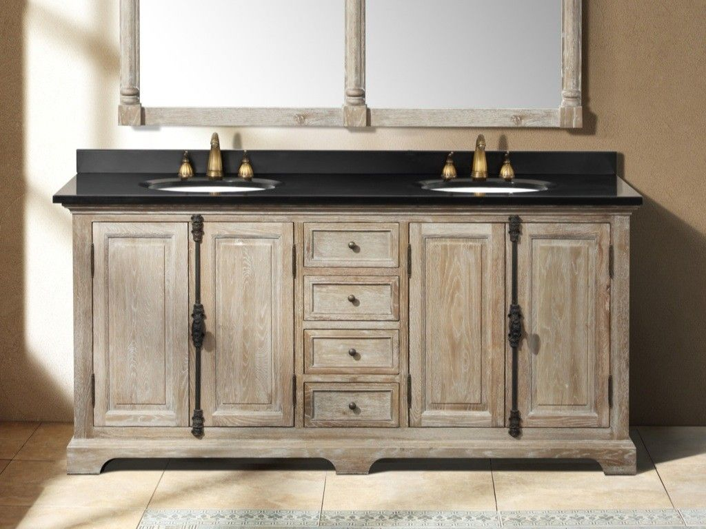 rustic bathrooms. farmhouse vanity. 72 inch driftwood grey double