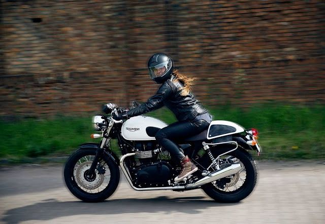 #Triumph girl Greta Garbo – Photo by Joanna Walasek Photography #motorcyclesgirl…