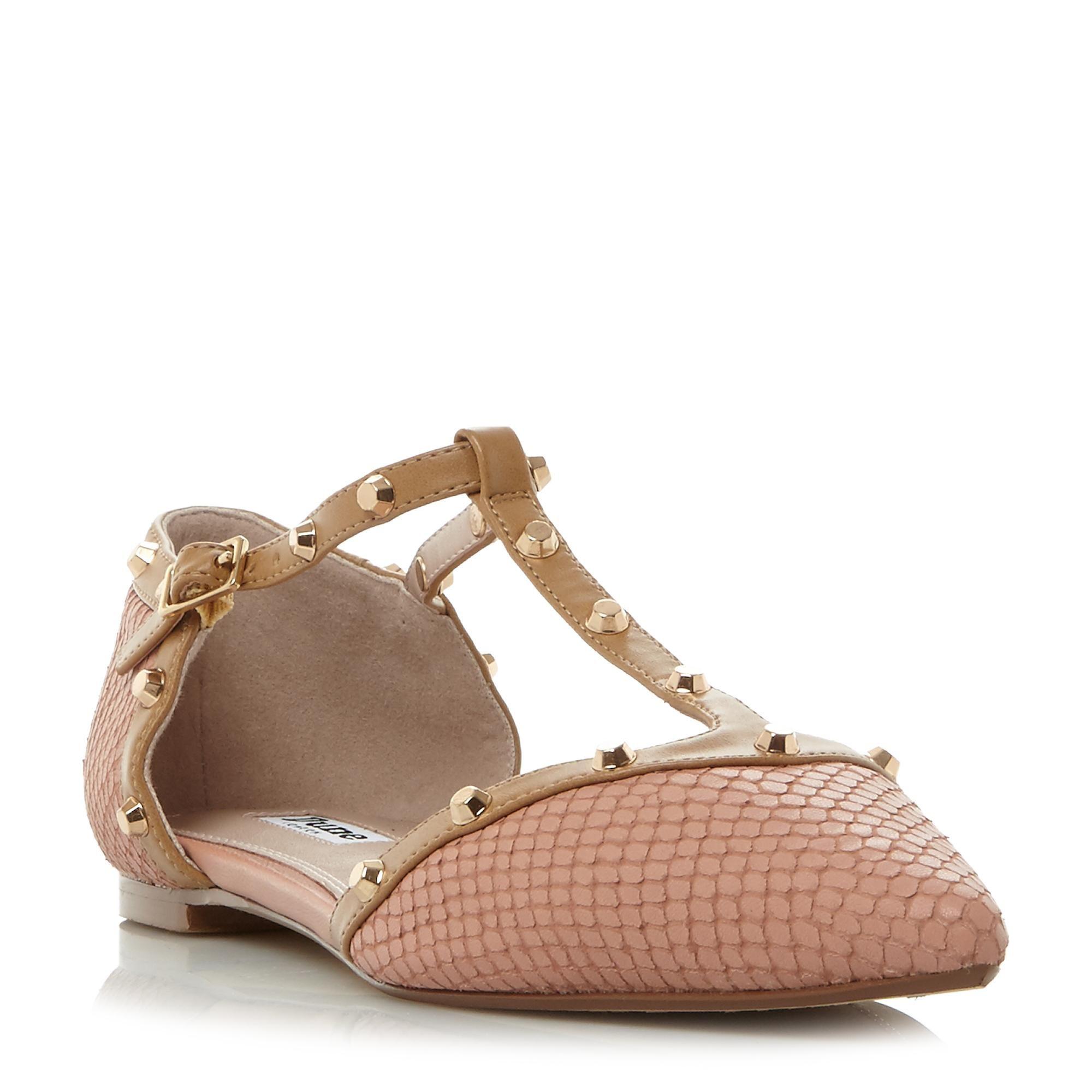 bc31c83c46 DUNE LADIES HETI - Stud Detail Pointed Flat Shoe - dusty pink | Dune Shoes  Online
