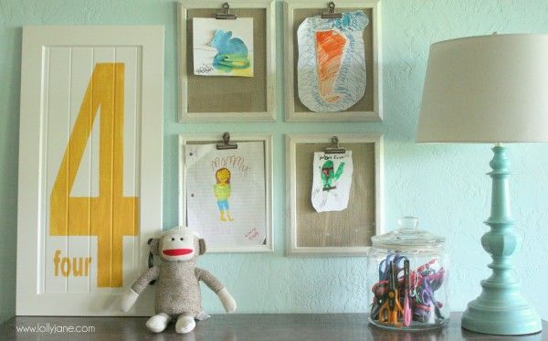 childrens art display playroom lollyjane.com