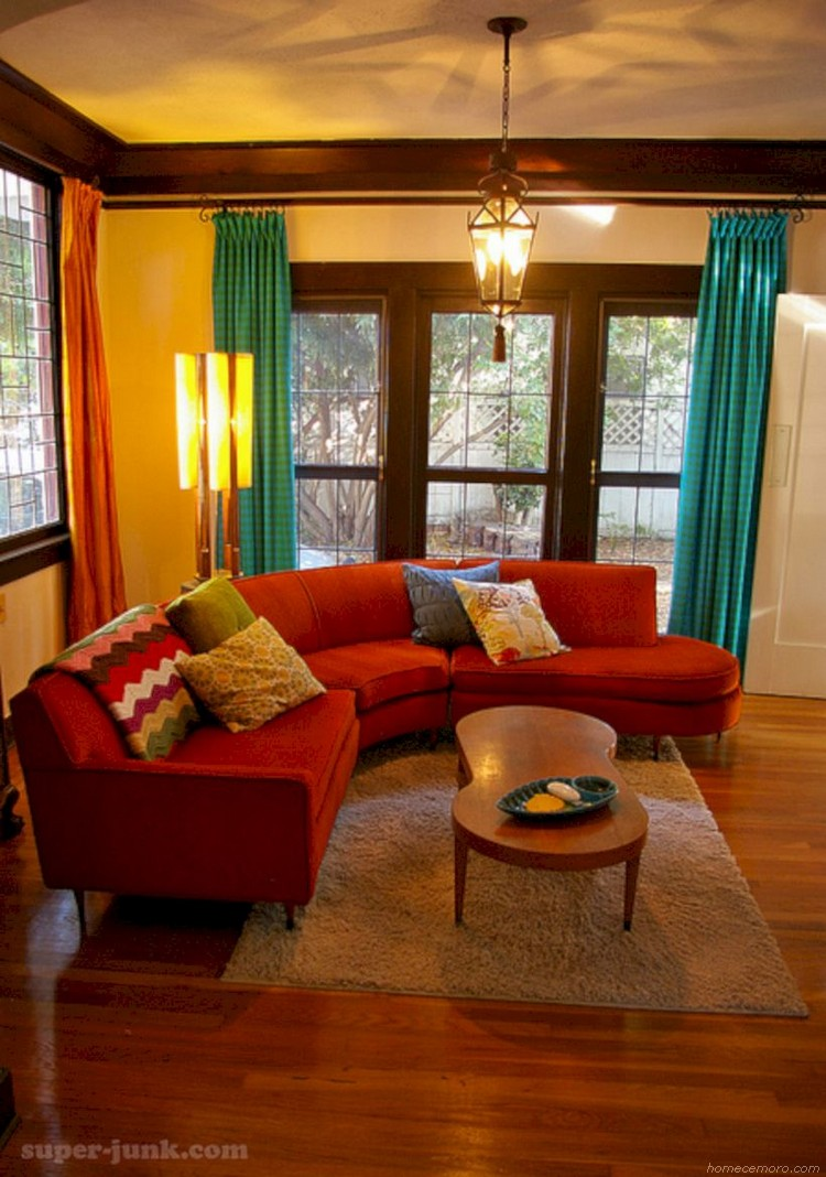 lovely curved couches living room ideas 03  red couch