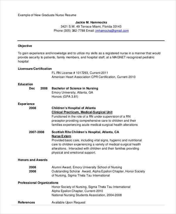 Nursing School Resume Template Recent Graduate