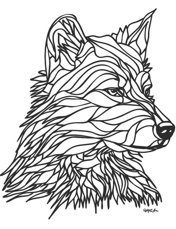 Coloring Page Wolf 1 Instant Download PDF | Etsy ...
