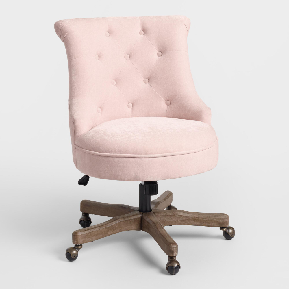 Blush Elsie Upholstered Office Chair Pink Fabric by
