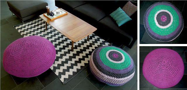 anleitung wie man aus t shirt garn ein sitzkissen pouf. Black Bedroom Furniture Sets. Home Design Ideas