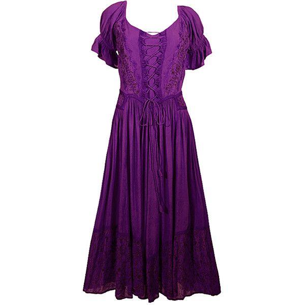 Coline USA Purple Smocked Peasant Dress ($27) ❤ liked on Polyvore ...
