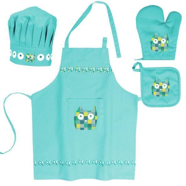 Good Tablier De Cuisine Enfant #9: TABLIER DE CUISINE Lot Enfant Tablier + Toque + Gant + Manique Chou2026