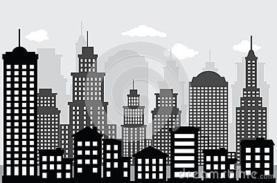 Cityscape Black White City Drawing Skyline Painting Cityscape