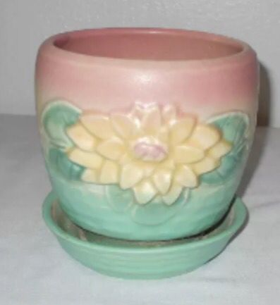 Hull Pottery Water Lily 1948 Flower Pot W Saucer L 25 5 1 4 Hull Pottery Pottery Vintage Pottery