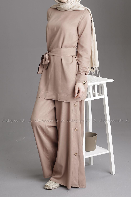Sutlu Kahve Belmando Takim Tk 80105 Hijab Chic Giyim