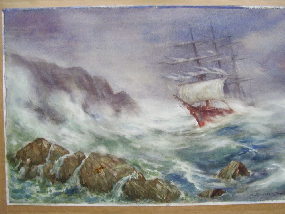 Watercolour by Bendell- Bailey Tall Ship in Storm