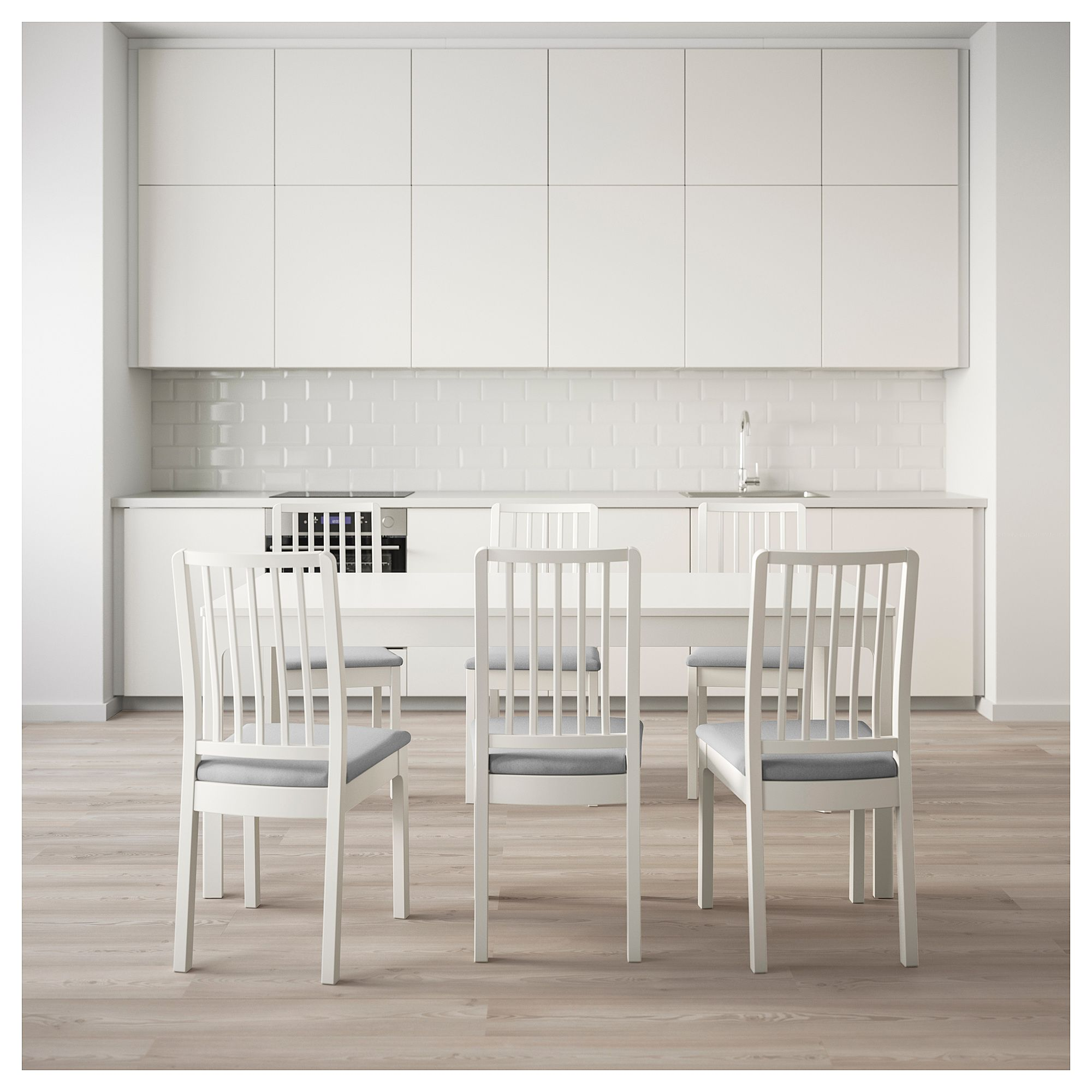 EKEDALEN EKEDALEN Table And 6 Chairs White Orrsta