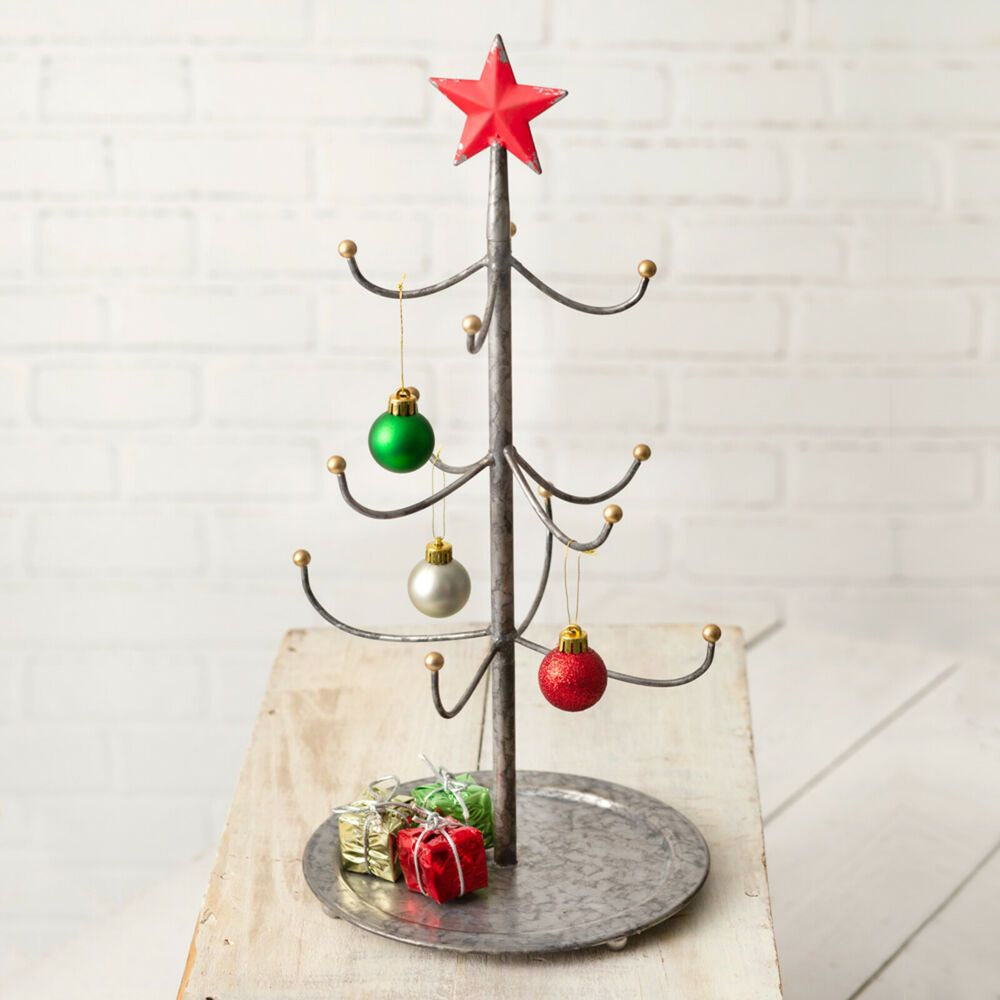 Galvanized Metal Mini Christmas Tree Display Stand With Red Star Tabletop Decor Cwt Farmhouseco Mini Christmas Tree Christmas Tree Stand Metal Christmas Tree