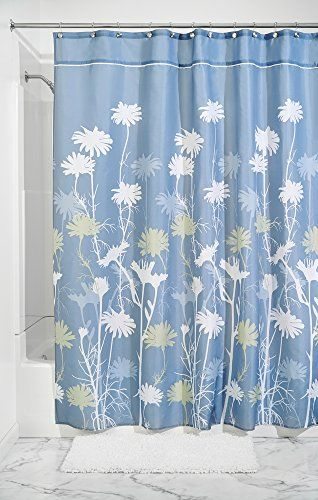Mdesign Daisy Fabric Shower Curtain Stall 54 X 78 Bluesage Green