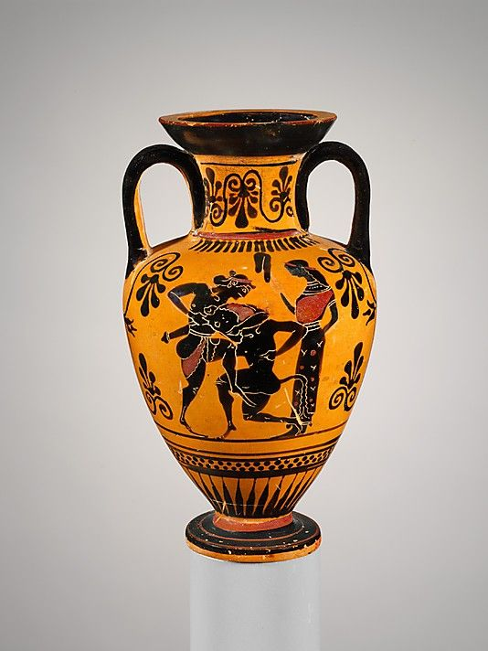Neck amphora showing Theseus and the Minotaur, ca 500 BCE. Attributed to the Edinburgh Painter. From the collection of the Metropolitan Museum of Art.