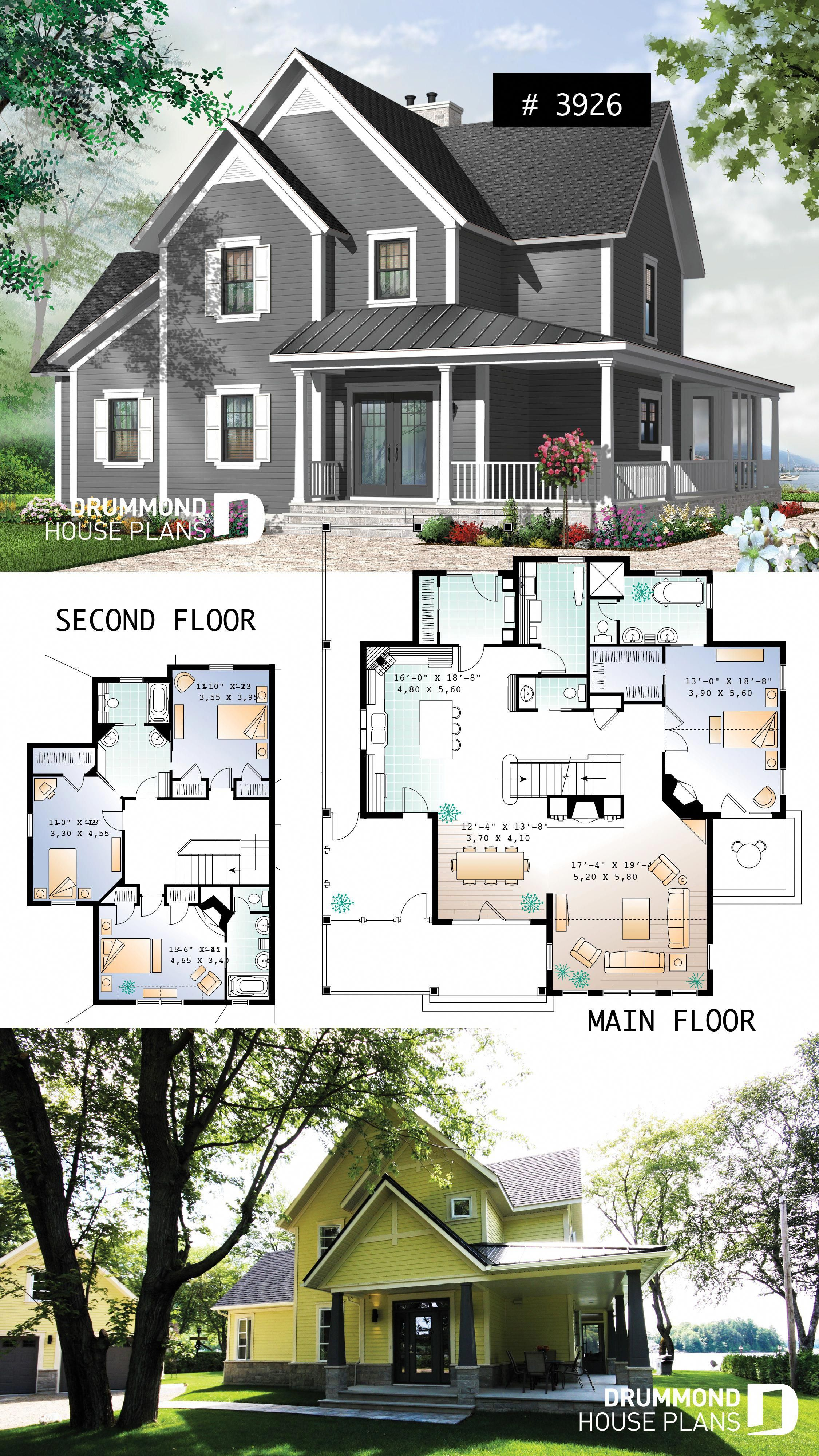 4 Bedroom Small Country Cottage Plan 2 Master Suites One With Private Balcony 3 Fireplaces 3 Bathrooms Cottagebedro Cottage Plan House Plans House Blueprints