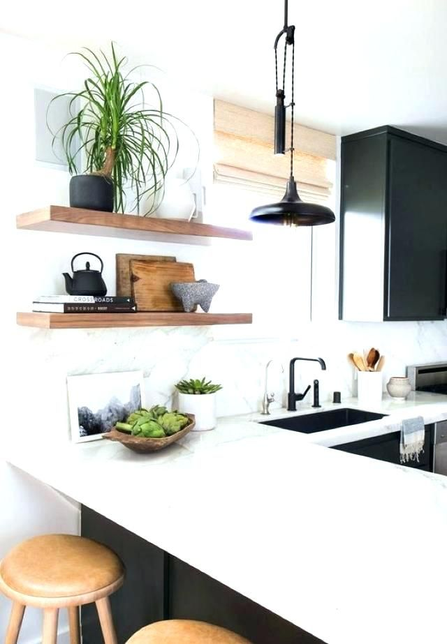 Natural Wood Shelves Floating Kitchen Reclaimed
