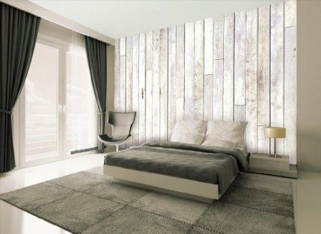 1wall Whitewash Wood Effect Wallpaper Wall Mural Amazon Co Uk Kitchen Home White Wood Paneling White Washed Furniture Wood Panel Walls