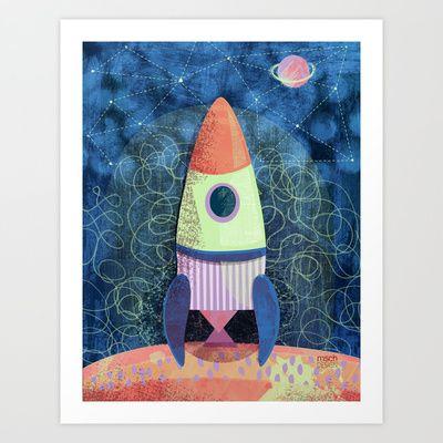 Space Ship! Art Print by MSCH Design / Michelle Schwartzbauer - $18.00 #mschdesign #design #illustration #cute #kids #decor #gifts
