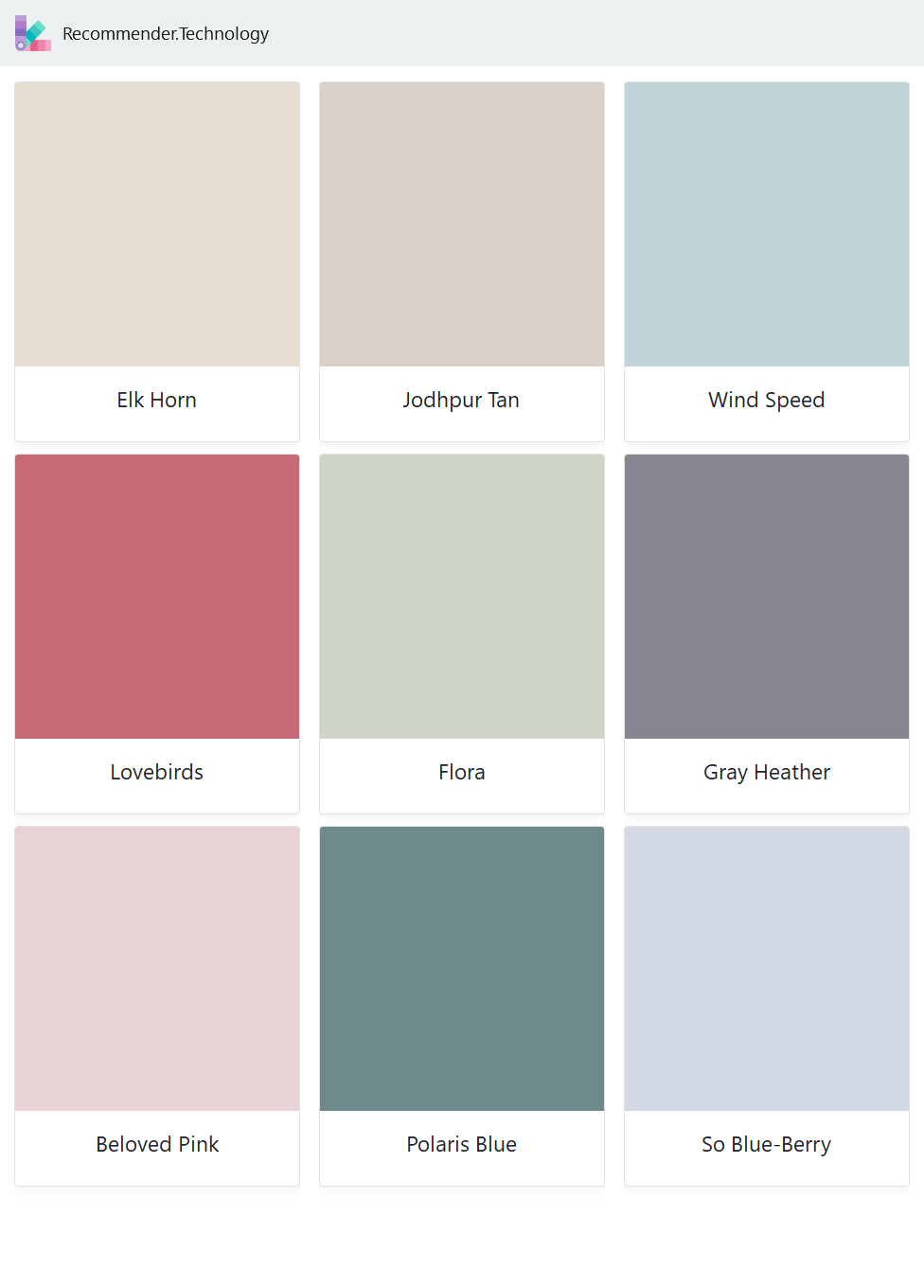 Elk Horn, Lovebirds, Beloved Pink, Jodhpur Tan, Flora, Polaris Blue, Wind Speed, Gray Heather, So Blue-Berry
