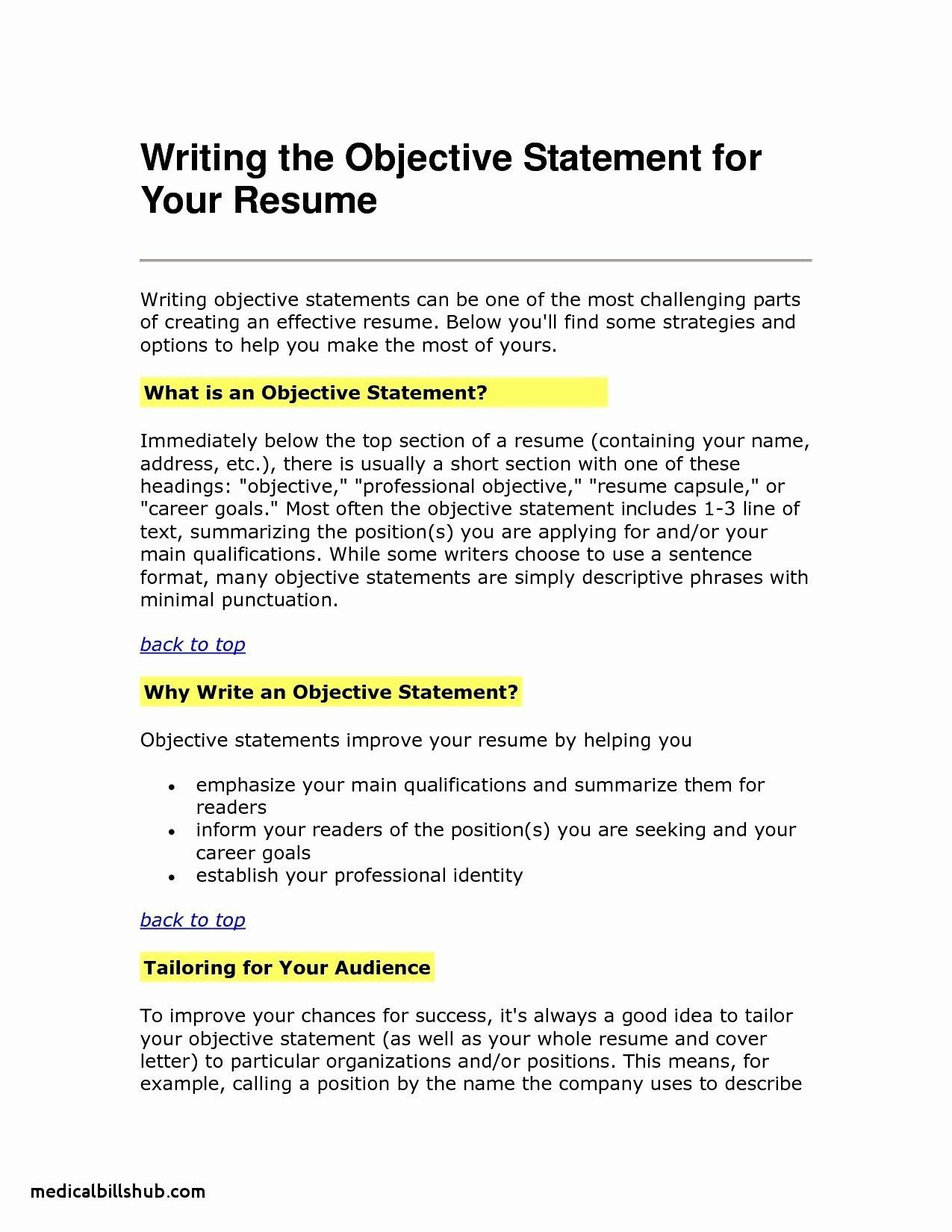 Examples Of Objectives For Resumes Resume objective