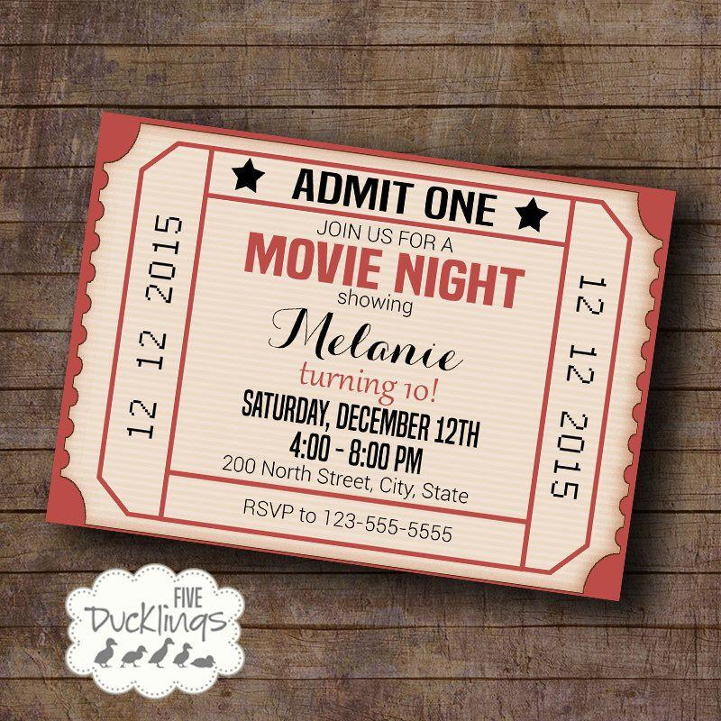 Movie Night Party Cinema Ticket Birthday Invitation Vintage – Printable Ticket Paper