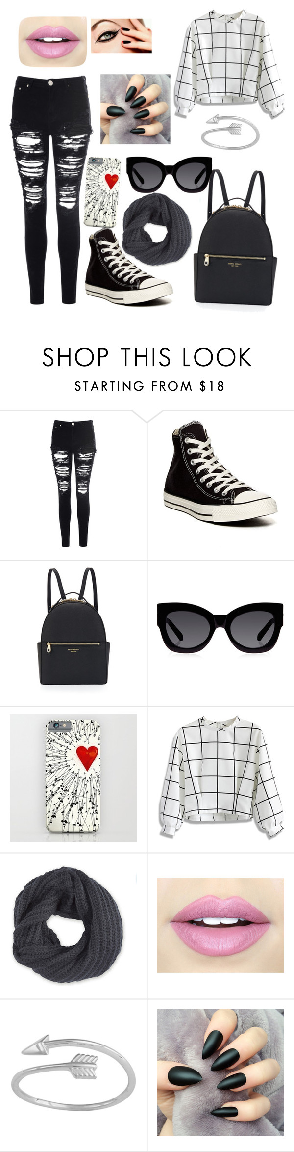 """""""Untitled #110"""" by kailastrawberry ❤ liked on Polyvore featuring beauty, Glamorous, Converse, Henri Bendel, Karen Walker, Chicwish, Frenchi and Fiebiger"""