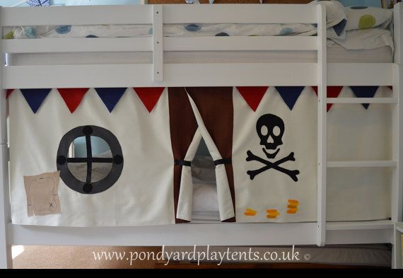 Pirate Ship bunk bed tent. Create a secret hideaway to inspire imaginative and creative play. Free shipping to UK! Hand made to order & Pirate Ship bunk bed tent. Create a secret hideaway to inspire ...