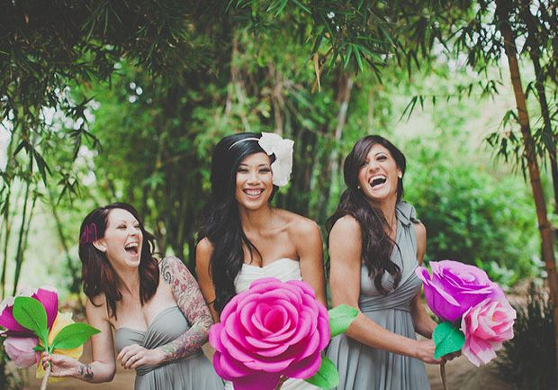 Giant DIY paper bouquets for your bridesmaids.
