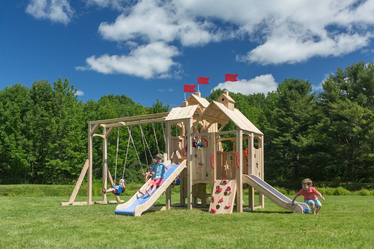 Cedarworks Frolic 298 Playset Outdoor Wooden Swing Set Playset