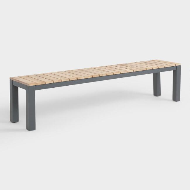 Surprising Gray Metal And Wood Alicante Outdoor Dining Bench V1 Andrewgaddart Wooden Chair Designs For Living Room Andrewgaddartcom