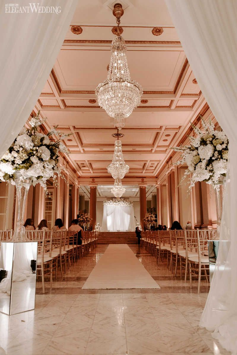 All-White Ballroom Wedding with Gold Accents | White wedding ceremony, Indoor wedding ...