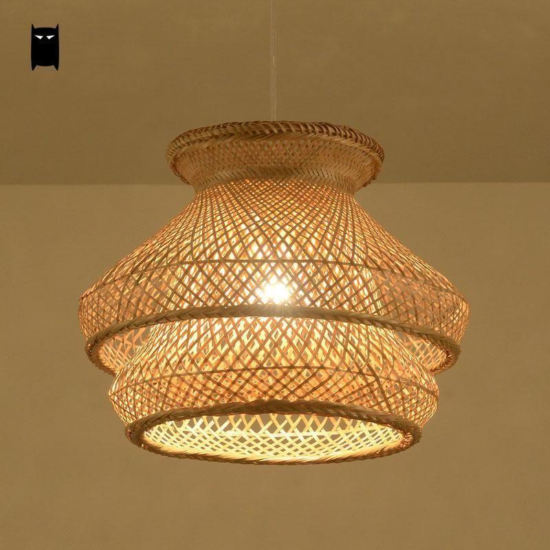 Bamboo Wicker Rattan Shade Chandelier Light Fixture Rustic Pendant Ceiling Lamp