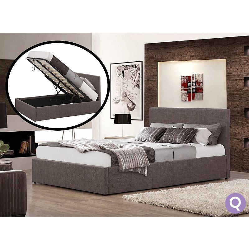Tremendous Queen Size Fabric Gas Lift Storage Bed Frame Grey As Gmtry Best Dining Table And Chair Ideas Images Gmtryco