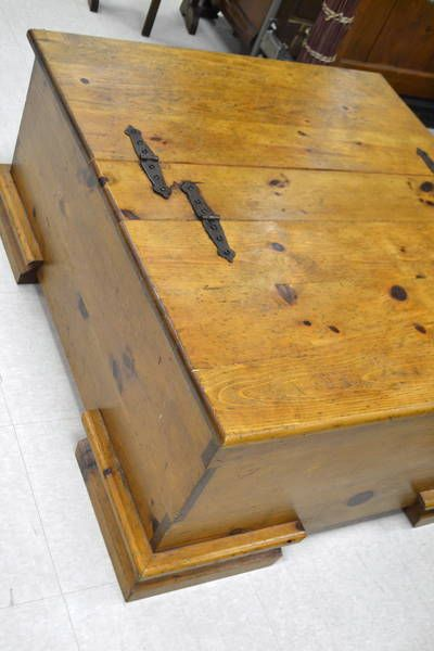 Footed Knotty Pine Coffee Table With Hinged Top / Storage Chest With Cast  Iron Hardware