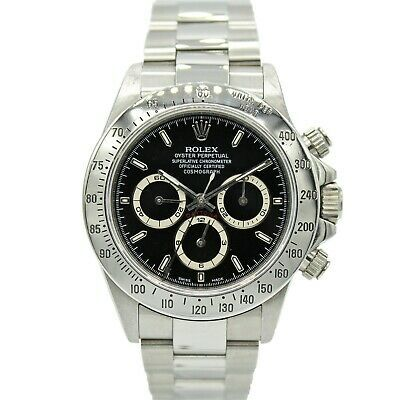 Details about Mens Rolex Daytona Stainless Steel w/ Black Dial 16520 Zenith A #stainlesssteelrolex