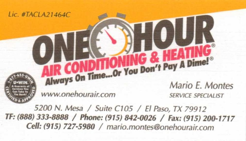One Hour Air Conditioning And Heating Cards I Card Conditioner