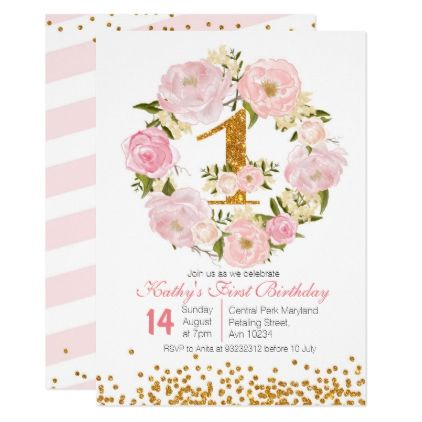 1st Birthday Floral girl Invitation Card - girl gifts special unique - invitation card for ist birthday