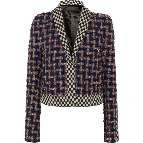 HAIDER ACKERMANN Cropped wool-blend bouclé-tweed and jacquard jacket  (62.215 RUB) ❤ liked on Polyvore featuring outerwear, jackets, haider  ackerm…
