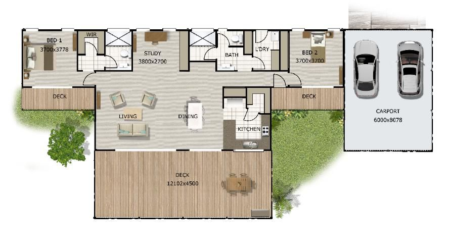 Floor Plan 2 Bedroom Plus Study Range Style 190 M2 Ranch Style House Plans Australian House Plans Kit Homes Australia