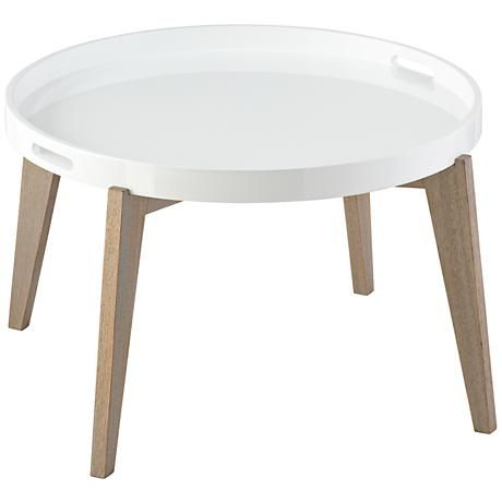 White Lacquer Tray Table With Wood Legs    So Perfect For A Minimalist  Scandinavian Living Room