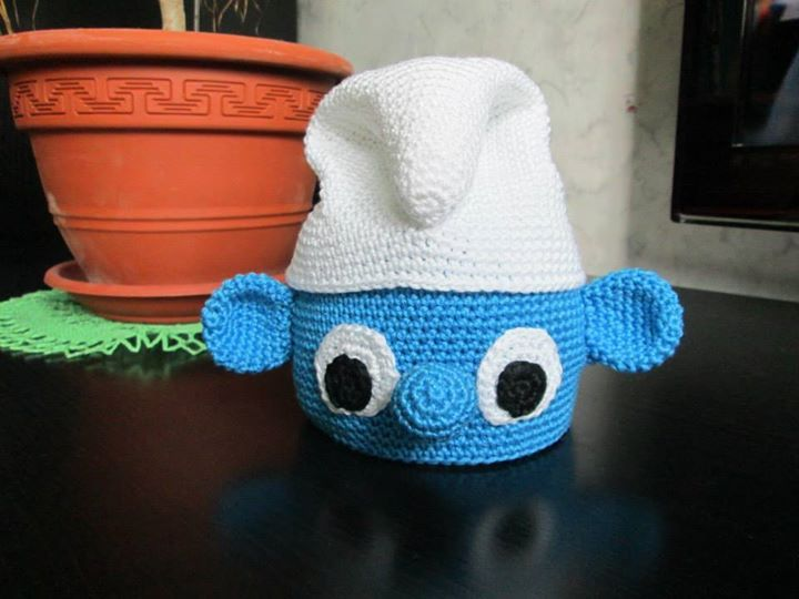 It is made with 100% cotton yarn. A lovely crochet smurf hat for babys or a child
