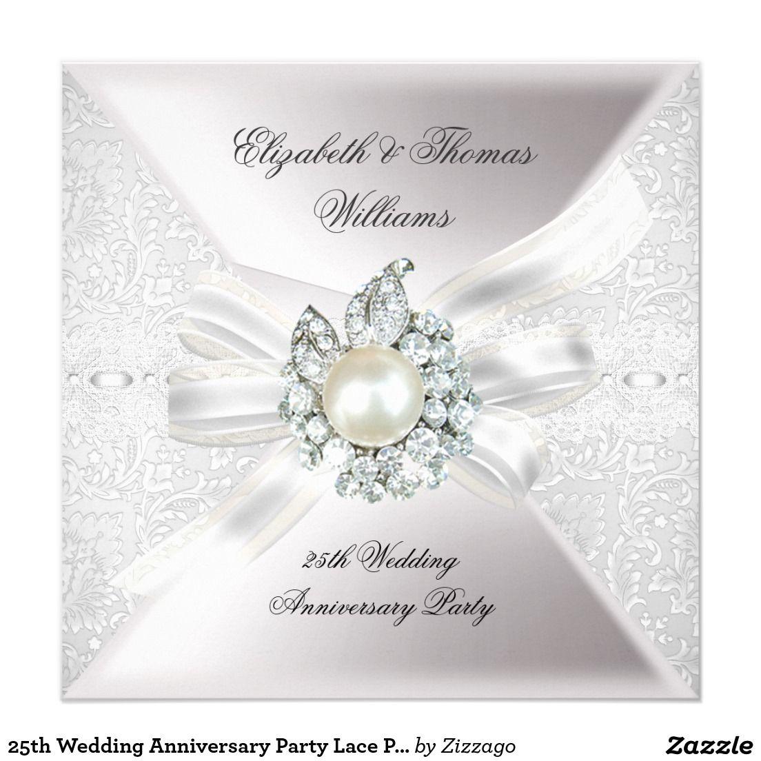 25th Wedding Anniversary Party Lace Pearl White Card | 25 wedding ...