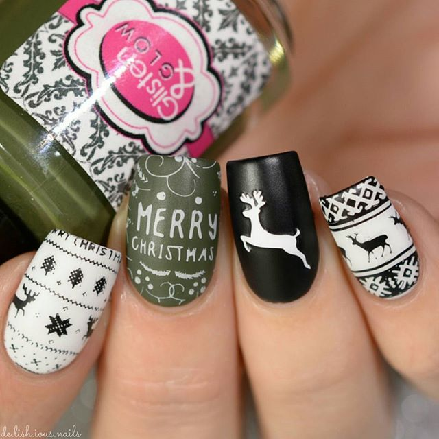 Pretty Reindeer Christmas Sweater Nail Art Stamping Design ...