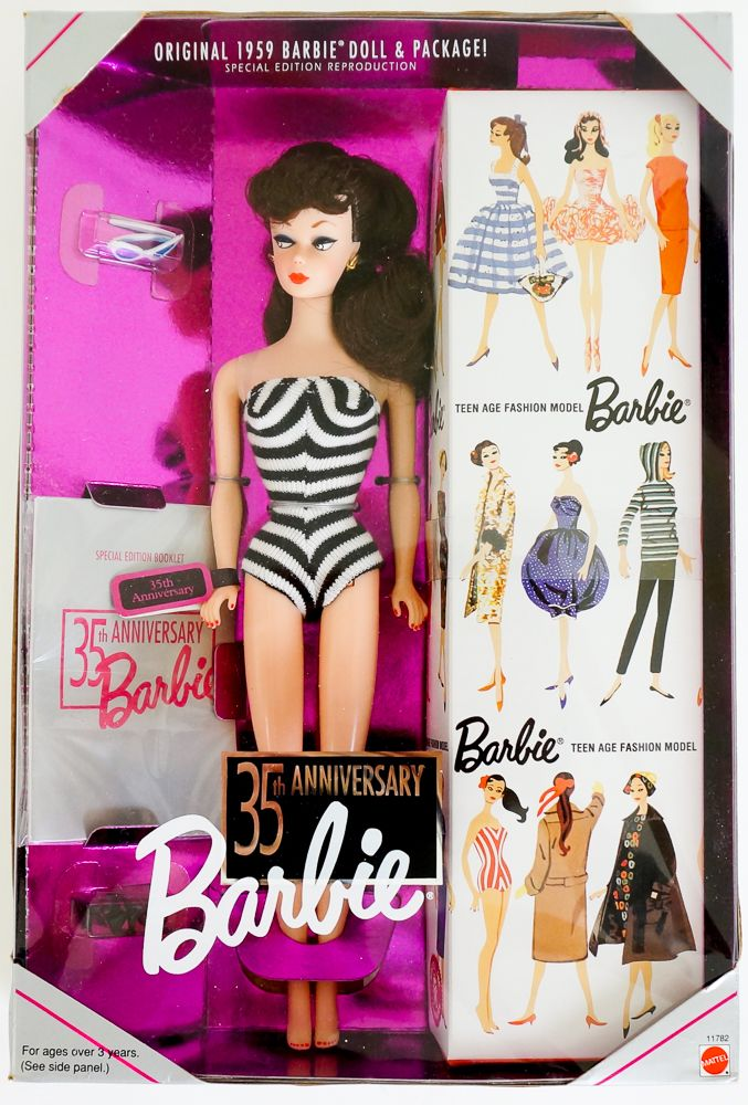 NEW MATTEL REPRODUCTION BARBIE DOLL CLEAR AND BLACK STAND REPRO