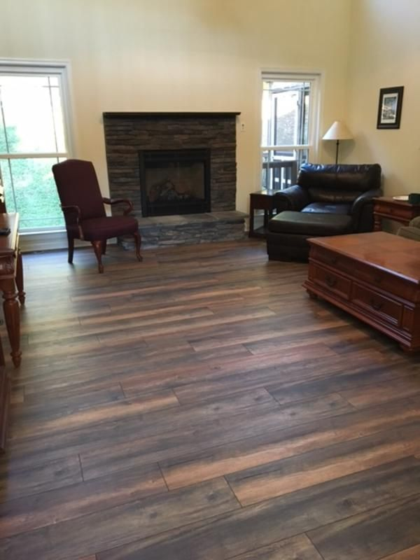 Living Room Inspiration We Did The 12mm New Haven Harbor Oak Floors Throughout Our First Floor Foyer Off Laminate Plank Flooring Flooring Options Flooring