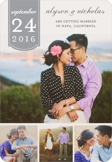 Romantic Tab - Save The Date Magnet - Magnolia Press - Smoke - Gray : Front
