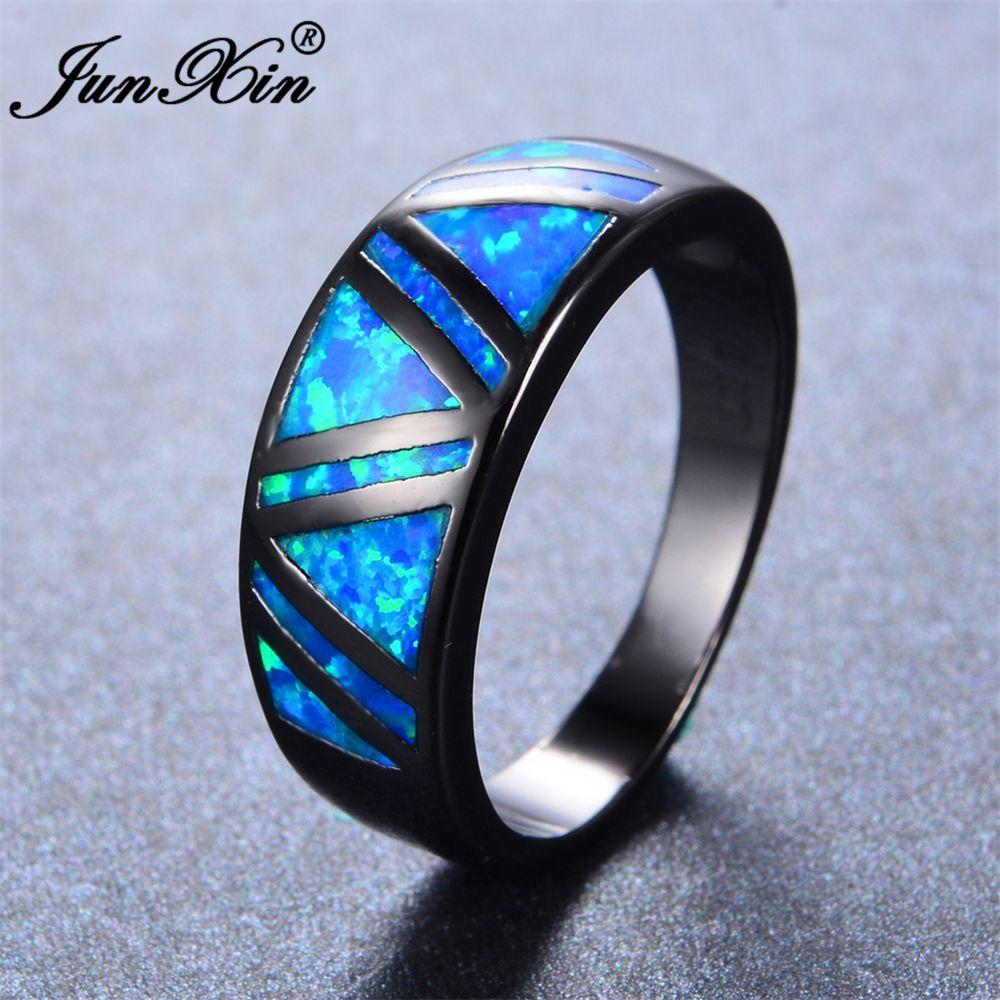 JUNXIN Male Female Blue Fire Opal Ring Vintage Black Gold Filled