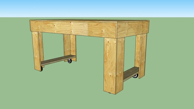 Large preview of 3D Model of plywood workbench